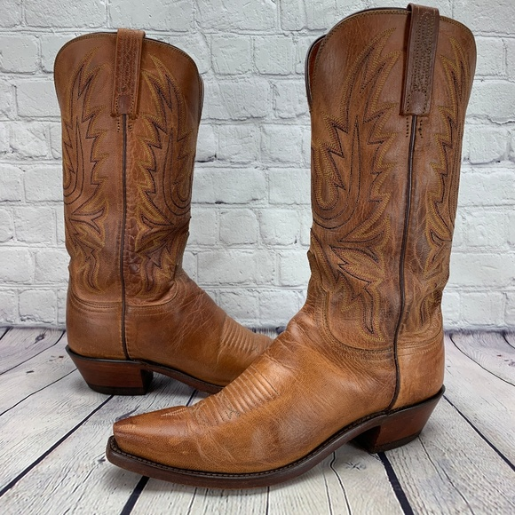 6173061f277 1883 Lucchese Savannah Western Boots Tan Burnish